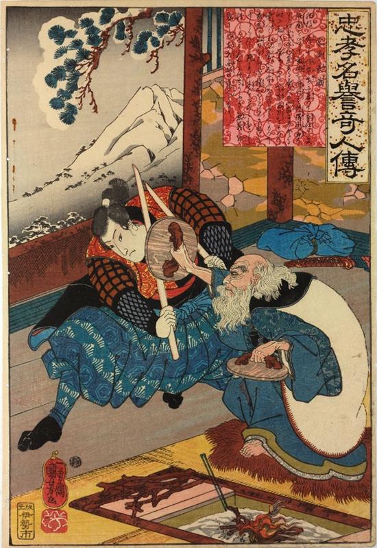 Musashi peleando con Bukuden. Retratado por Utagawa Kuniyoshi, maestro japonés de la técnica ukiyo-e
