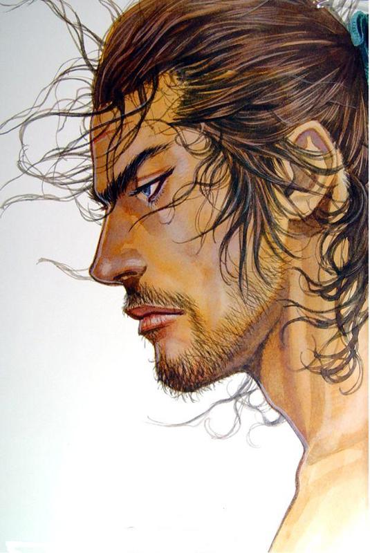 Personaje de Musashi en el manga Vagabond, de Inoue Takehiko.