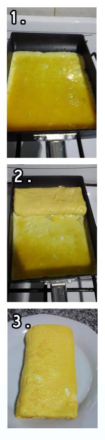 Para el tamagoyaki: 1. y 2. Preparación de Tamagoyaki 3. Una vez preparado el tamagoyaki, cortar cada 1 cm. Fotos: Alejandra Oka