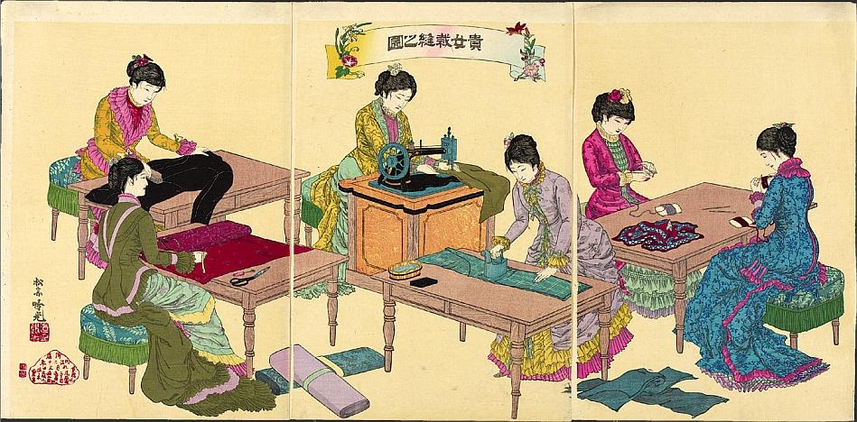 Ya en la era de la Restauración Meiji, se presentaba a las mujeres japoneses en trajes occidentales, en este caso, trabajando con modernas máquinas de coser. Obra de Adachi Ginko, 1887.