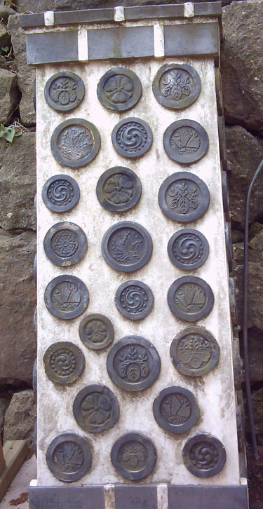 Kamon exhibidos en Castillo de Himeji.
