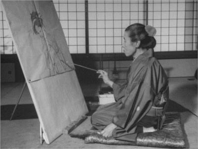 Shoen Uemura pintando