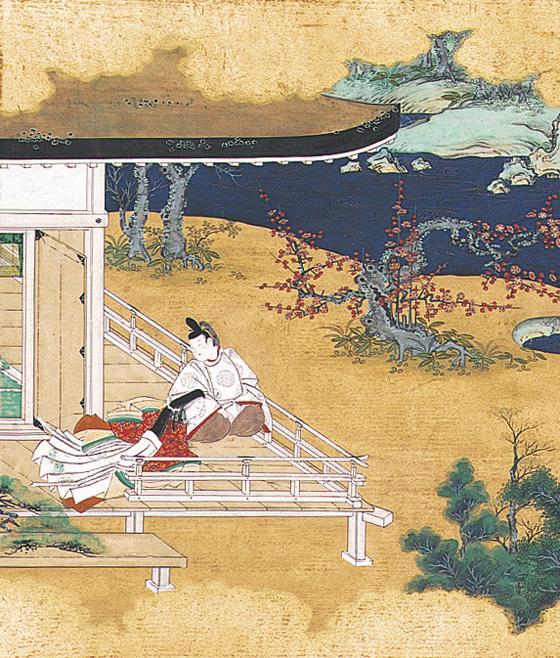 """Ilustración del capítulo 6: """"La flor de azafranillo"""", en referencia a una princesa de la que se enamoró Genji."""