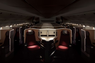 Foto de prensa Japan Airlines. Asientos Business Class