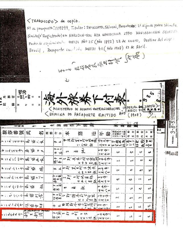 Nómina del pasaporte de Shinzato Shinsei emitido en 1908 (marcado con rojo). Nacido el 22 de enero de 1892 en Nakijin, Okinawa. Foto gentileza de Celia de la Fuente.
