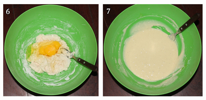 6. Agregar huevos. 7. Mezclar.