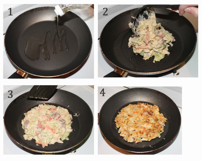 1. Agregar aceite 2. Poner dos cucharadas de la mezcla 3. Acomodar con la forma del okonomiyaki 4. Dar vuelta y vuelta