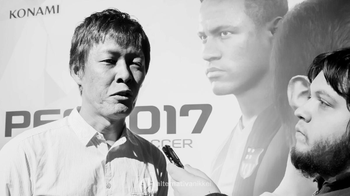 Nahuel Murru, periodista de Alternativa Nikkei, entrevistando a Junichi Taya, productor de Konami Digital Entertainment. Foto: tbo