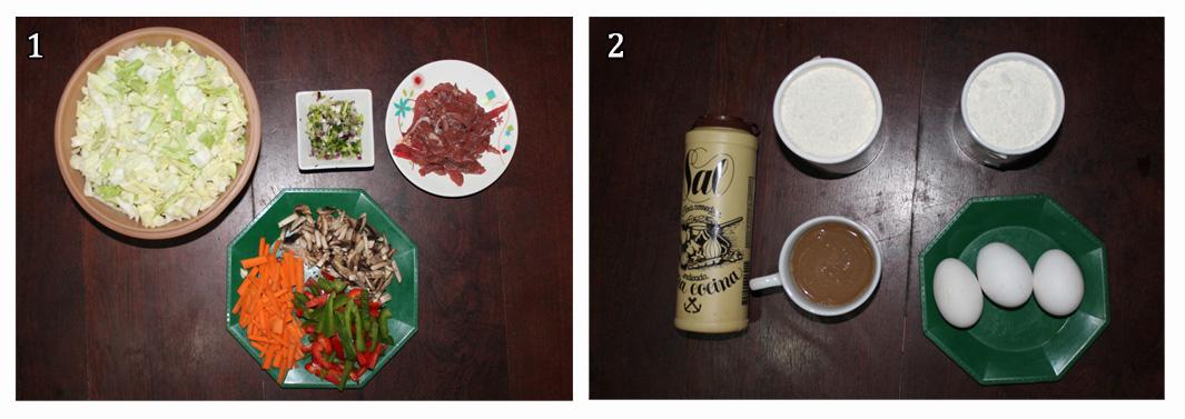 1. Ingredientes cortados. 2. Ingredientes para la masa.