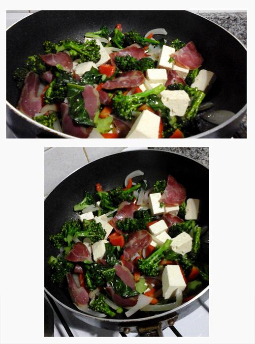 Cocinar ingredientes en la sartén (a fuego bajo). Foto: Alejandra Oka