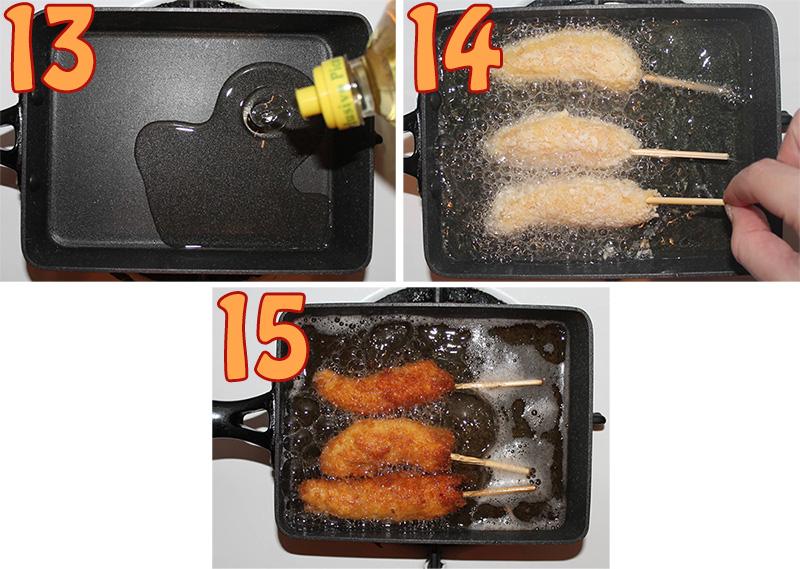 13. Calentar aceite en una sarten. 14. Freir los langostinos hasta que doren. 15. Girar.