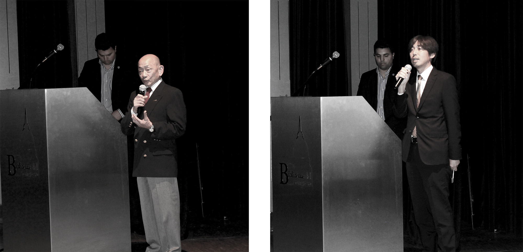 A la izquierda, el Sr. Ernesto Kimura, vicepresidente de la Asociación Japonesa en la Argentina. A la derecha, el Sr. Tatsuya Kasahara, Agregado Cultural de la Embajada del Japón